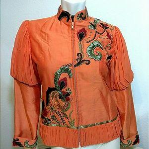 Shimmering embellished mandarin neck jkt top
